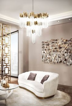 Golden lighting is a must have. As an interior designer, you can discover modern luxury living room design ideas combining luxurious materials with a light gold Canapé Design, Deco Design, Design Trends, Design Ideas, Design Hotel, Color Trends, House Design, Living Room Lighting Design, Living Room Designs