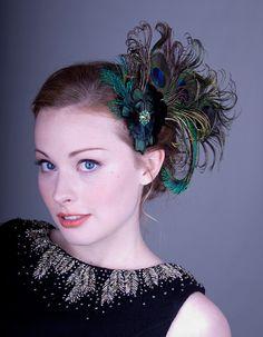a6f8512bca3 Absinthe Nymph Peacock Feather Flapper Hair Clip by BaroqueAndRoll