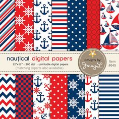 Nautical Sailing Red & Blue Digital Papers by JennyLDesignsShop