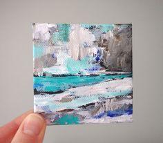 small abstract landscape winter scene original by Claudiandra, $26.00