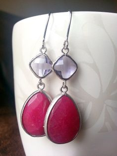 SALE  Pink Jade Earrings Purple and Pink Drop by TheCoralDahlia, $15.00