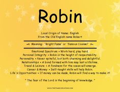Robin Name Meaning (Male)