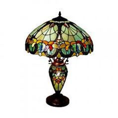 Tiffany Style Table Lamp with Lighted Base by Chic2Unique on Etsy