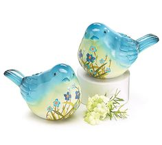 Pair Blue & Yellow Bird Figurines Painted Floral Mother's Day Gift burton+burton #burtonBURTON
