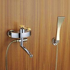 Dusche Badewanne Wasserhahn Chrom-Finish mit goldenen Handbrause und drehbaren Auslauf
