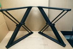 Design Dining Table X Legs Sturdy Industrial by MetalAndWoodDesign