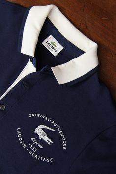 The crocodile logo has been with the brand from the start and came from the founder Rene Lacoste's embroidered crocodile he would wear on his blazer during his tennis games. Lacoste Clothing, Lacoste Polo Shirts, Lacoste Men, Polo Rugby Shirt, Mens Polo T Shirts, Golf Shirts, Camisa Polo, Polo Shirt Design, Crocodile Logo