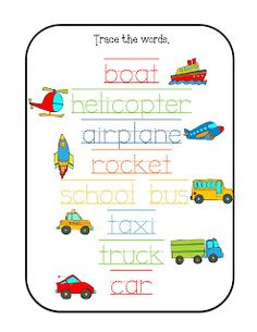 Prek Transportation Things That Go on 8 Spring Number Worksheets For Preschoolers