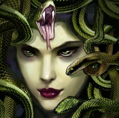 Medusa - The disciple of Athena who was turned into a gorgon. She had a hair of snakes and could turn men to stone with her gaze.
