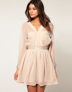 ASOS Slash Sleeve Dress with Diamante Trim