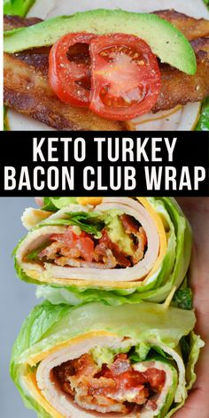 This quick and easy Keto Turkey Club Wrap is loaded with deli turkey, salty bacon, crisp lettuce and tender avocado! The perfect low carb lunch recipe under 4 net carbs! Keto Lunch Ideas, Lunch Recipes, Low Carb Recipes, Diet Recipes, Cooking Recipes, Healthy Recipes, Keto Recipes With Bacon, Healthy Foods, Easy Sandwich Recipes