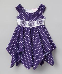 Lele for Kids Dark Purple Polka Dot Floral Handkerchief Dress - Toddler & Girls | zulily