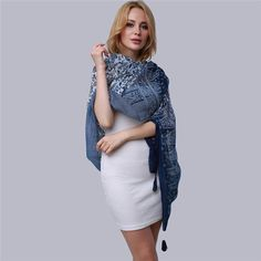Large Size Summer Pashmina Scarf Women Long Shawl Printed Sexy Beach Cover Up Female Navy Blue Printed Scarves KH981167