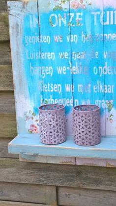 Wandbord in de tuin. Te maken tijdens zomerworkshop op 10 juni aanstaande. Opgeven bij de kassa!