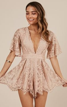 Complete your look with the Break The Bar Playsuit In Blush Lace from Showpo! Cute Dresses, Formal Dresses, Women's Dresses, Dresses Online, Summer Outfits, Cute Outfits, Teenager, Homecoming Dresses, Fashion Dresses