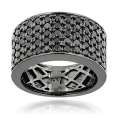 Luxurman Designer 10k Black Gold Men's 1 3/4ct TDW Black Diamond Wedding Ring (Black Rhodium plated 10k Gold Size 7)