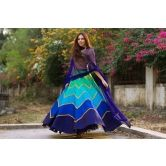Fabron Multi Colored Designer Embroidred Lehenga For Woman