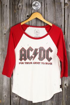 ACDC band tee, t-shirt, shirt, top. Loose fit, distressed. For those about to rock graphics