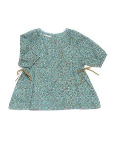 Pulmia Baby Dress, Turquoise Ditsy Flower, Caramel Baby