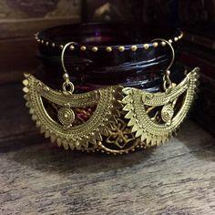 Tribal moon earrings -  brass Earrings - tribal earrings - tribal jewelry - ethnic earrings - boho esrrings - gypsy jewelry by Omanie on Etsy