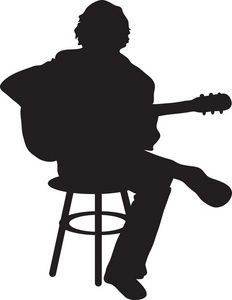 Guitar Player Clipart Image - The Silhouette Of A Male Acoustic ...