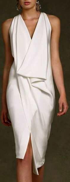 Gorgeous Donna Karan Ivory Assymetrical Sheath Dress