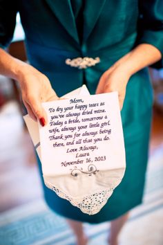 A darling note for the mother of the bride to treasure forever. ::Laura + Dan's brilliant in blue wedding at Callanwolde Fine Arts Center in Atlanta, Georgia:: #familygifts #giftideas #weddingideas #wedding #photography