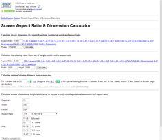 Screen Aspect Ratio calculator