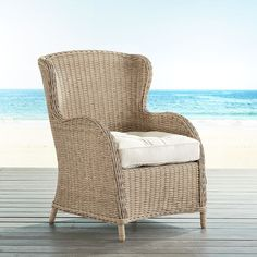 "Our Capella Island Collection of outdoor furniture exudes plenty of coastal character. Constructed of lightweight, corrosion-resistant aluminum and covered in all-weather wicker, each piece is designed to serve you whether seaside or in a backyard. Here, the wingback armchair features rolled arms and a low, wraparound apron. Add your idea of the perfect cushion, and it's likely to become the best seat outside of the house. <span id=""mini-upsell"" data-launch=""true"" data-required=""false""…"