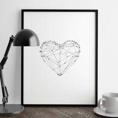 Amazon.com: Black and White Geometric Love Heart Fashion Poster Wall Decor Polygon Art Print Home Decor: Handmade