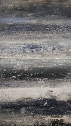 Original Texture Abstract Painting 16 x 20 Gray Modern Ocean
