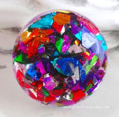Rainbow Confetti Resin Party Ring Chunky Rainbow by GlitterFusion