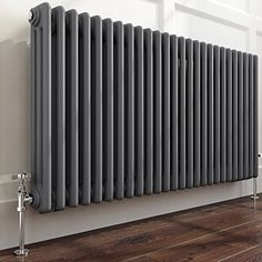 Anthracite Triple Panel Horizontal Colosseum Traditional Radiator with PTFE Tape Horizontal Radiators, Column Radiators, Painted Radiator, Grey Woodwork, Traditional Radiators, Cast Iron Radiators, New Room, White Walls, New Homes