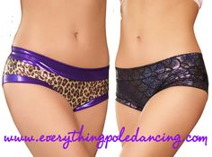 Everything Pole Dancing is now official stockist for Cleo The Hurricane's ROCKIN' range of hotpants! SONIC SIREN - gorgeous shiny mermaid patterned material and available in fuschia, black, silver and red WELCOME TO THE JUNGLE - Cleo's signature leopard print with contrasting pink or purple fabric CHROMES - a choice of silver or pink metallic centre panel with black trim All styles are manufactured specially for polers and cut with a wide crotch that ensures no flashing and a sexy scrunch…
