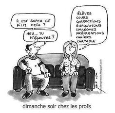 Sunday night at the teacher's French Teaching Resources, Teaching French, Teaching Humor, Teaching Profession, Funny French, Core French, French Education, French Classroom, Burn Out