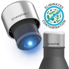 CrazyCap Deep UV Light Water Filter Cap Gen 2 – Advanced Purifier Top for Camping, Hiking, Outdoor Travel, Survival Kit – Clean Drinking Water Made Easy – Fits Most Standard Bottles by Microlyscs Uv Water Filter, Portable Water Filter, Water Bottle Caps, Filtered Water Bottle, Water Filtration System, Water Systems, Water Lighting, Light Water, Water Purification