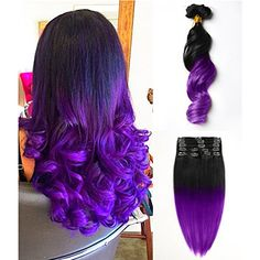 Moresoo 16 inch 100% Remi Hair Loose Wave Natural Black(#1B) to Purple Two Tone Ombre Clip In Human Hair Extensions Full Head Set 7 Pieces 120g