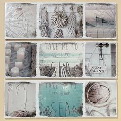 Sada 3 obrazů Sealife, 30x90 cm