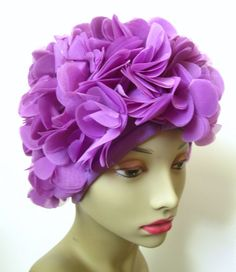 Vintage 1950s Petal Hat // Purple // Curler Cover // by MKRetro, $28.00