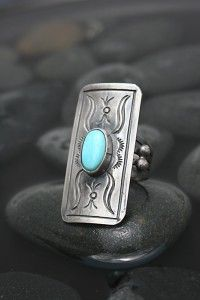 Old World Oxidized Turquoise Ring