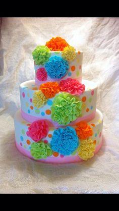 Bright ruffle cake found on google