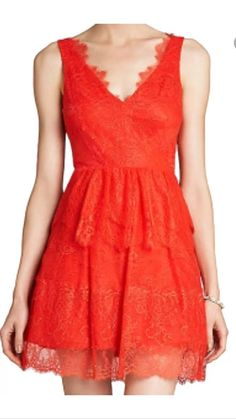 NEW BCBG MAX AZRIA BRIGHT POPPY WILLA red LACE SHORT xmas party DRESS SIZE XXS #BCBGMAXAZRIA #Sexy #Cocktail