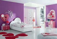Bedroom, Luxurious And Amazing Girl Room With The Beautiful And Cute Painting Ideas That Look So Amazing Awesome Fascinating And Nice With The Smart Design Ideas With Purple And White Color And Some Small Love Rug And Small Desk ~ The Great Paint Ideas For Girls Room With The Elegant And Cute Furniture And The Arrangement