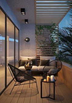 Attractive balcony with parquet hardwood and modern garden furniture. - balcony garden 100 - Attractive balcony with parquet hardwood and modern garden furniture. Design Jardin, Terrace Design, Garden Design, House Design, Landscape Design, Apartment Balcony Decorating, Apartment Balconies, Interior Balcony, Apartments