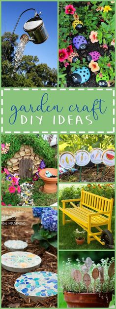 These DIY garden crafts are the perfect projects to display throughout your garden. These crafts are a fun creative way to personalize your garden space! These DIY garden crafts are t Diy Garden Projects, Garden Crafts, Diy Garden Decor, Craft Projects, Diy Crafts, Garden Decorations, Garden Fence Art, Balcony Decoration, Project Ideas
