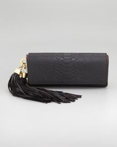 V1F47 ZAC by Zac Posen Claudette Tassel Clutch Bag, Black