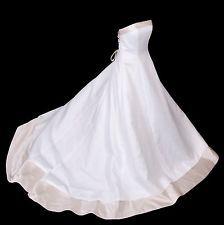 David's Bridal Strapless Gold Ivory Wedding Gown Bride Dress Corset Full Train