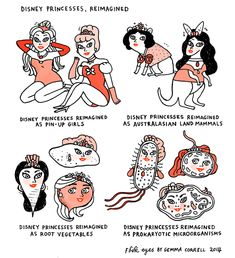 """Enough with the Disney princess stuff already"" -British cartoonist Gemma Correll  Frustrated with magazines geared toward women, she uses art to poke fun at stereotypes. In addition to magazines, she also expertly skewers trends she sees online."