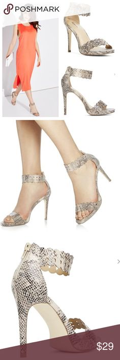 Blush Snake Skin Sandals With Heels Be bold and beautiful with Morona, a sandal heel that features cutout scallops at the ankle and toe, a small platform and a zip back. Blush for faux leather, snake print. New with the box. Just Fab Shoes Heels