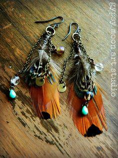 Bohemian Princess Earrings.  Autumn Wedding Boho Bridal Feather Earrings.. $42.00, via Etsy.